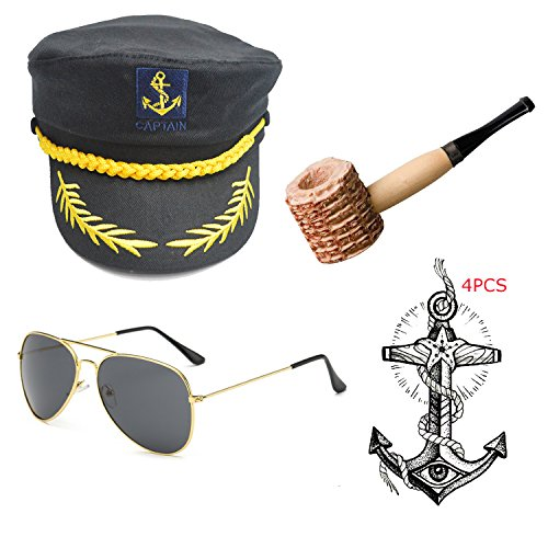 Yacht Captain & Sailor Costume Set - Hat,Corn Cob Pipe,Aviator Sunglasses,Vintage Anchor Temporary Tattoo (OneSize, C7)