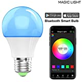 Magic Light Bluetooth Smart Light Bulb - Dimmable Multicolored Disco Light - Wake up LED Lights & Sleeping Night Light - Smartphone Controlled Xmas Seasonal Celebration Lighting