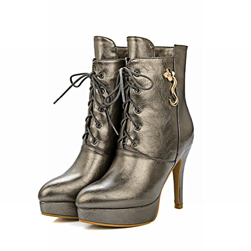 Carolbar Dames Plus Size Lace-up Puntschoen Platform Winter Hoge Hak Korte Laarzen Staal Grijs
