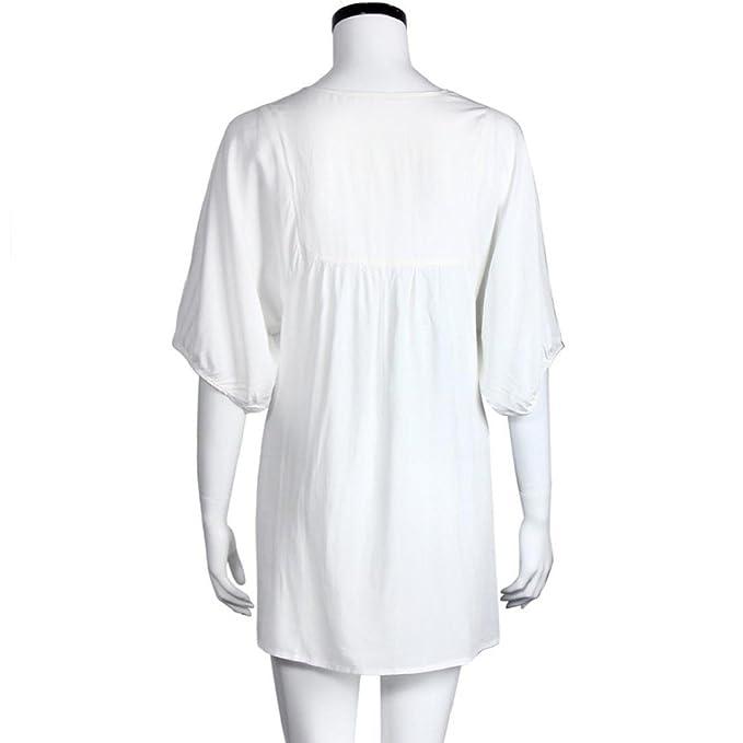 Tongshi De mujeres de origen campesino bordado de la blusa del Hippie gitano de Boho mini vestido mexicano (EU 40(Asia XL), Blanco): Amazon.es: Ropa y ...
