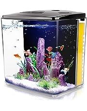 1.2 Gallon Aquarium Starter Kits , Aquariums Square Betta Fish Tank with LED Light and Filter Pump