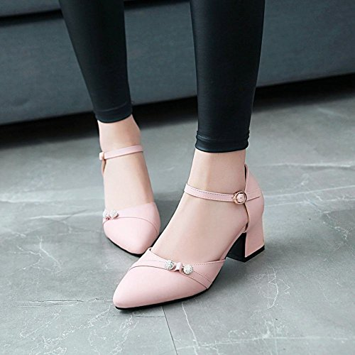 MissSaSa Damen Ankle Strap Strass Leder-Pumps Pink