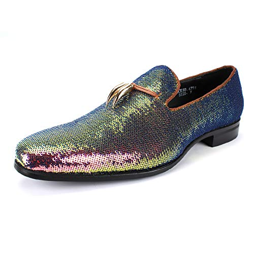 Silver Metal Footwear - AFTER MIDNIGHT 6759 Smoking Slipper with Shiny Sequins Smoker Loafer with Metal Horns Ornament (9.5 D(M) US, Rose Pearl)