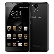 Blackview P2 Lite 5.5 inch Android 7.0 4G Network 3GB+32GB 6000mAh Battery Fingerprint Identification Smartphone MTK6753 Octa Core up to 1.3GHz Support Dual SIM GPS BT (+OTG Cable, Screen Protector) (Black)