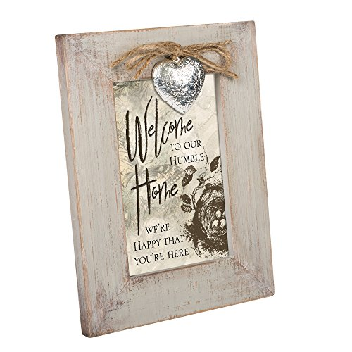 Welcome to Our Humble Home Ivory Distressed Wood 4 x 6 Locket Easelback Photo Frame (To Our Welcome Home Decor)