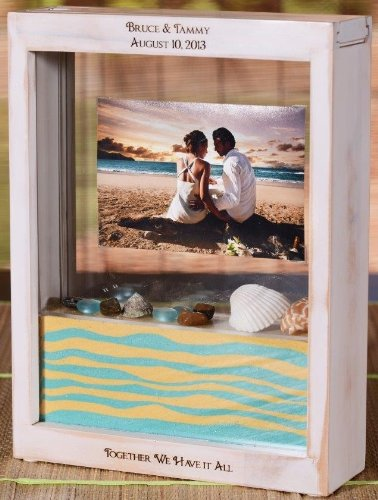 Unity Sand Ceremony Shadow Box Frame Distressed White Sand Wont