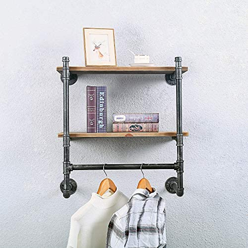 Industrial Pipe Clothing Rack Wall MountedReal Wood ShelfPipe Shelving Floating Shelves Wall ShelfRustic  Garment Rack Display Rack Cloths Rack24in Steam Punk Commercial Clothes Racks