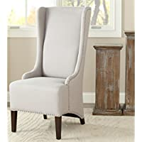 Safavieh Mercer Collection Stella Linen Side Chair with Trim Nail Head, Beige