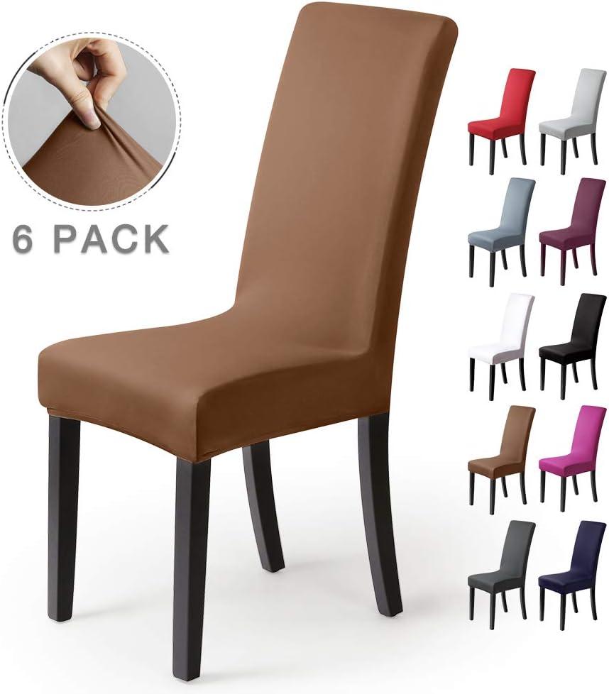 BalladHome®Fundas para sillas Pack de 6 Fundas sillas Comedor Fundas elásticas, Cubiertas para sillas,bielástico Extraíble Funda, Muy fácil de Limpiar, Duradera (Paquete de 6, Beige-Piedra)