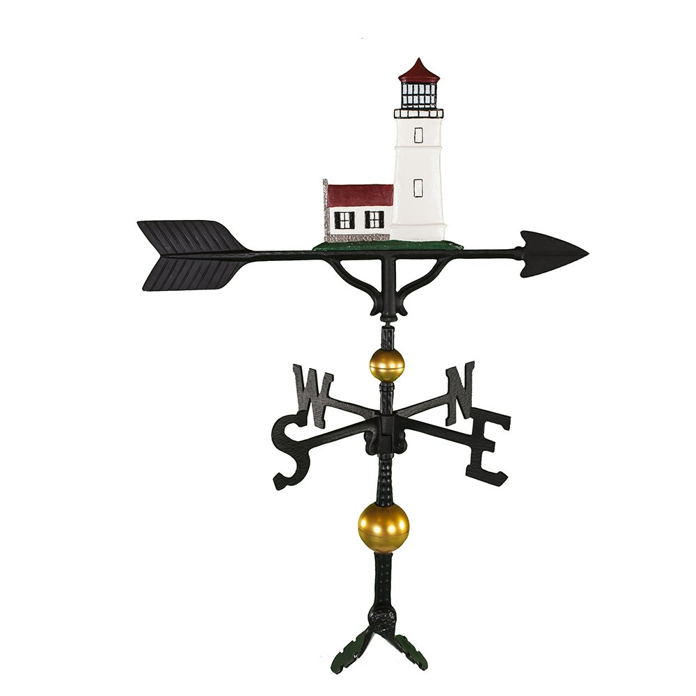 Montague Metal Products 32-Inch Deluxe Weathervane with Color Cottage Lighthouse Ornament by Montague Metal Products (Image #1)