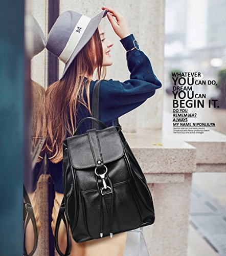 Women Black Vintage Real Genuine Leather Backpack Purse Travel Bag Schoolbag,Travel Shoulder Bag By CLAIRE CC by CLAIRE CC (Image #4)