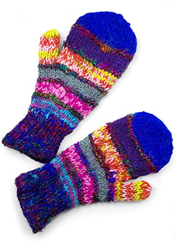 (TCG Women's Hand Knit Wool Striped Mittens - Mega-Multi-Colored)