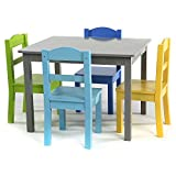 Tot Tutors Elements Grey Wood Table and 4 Colored Chairs Set