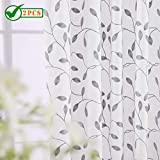 Twin Six Embroidered Curtains Thick Floral Design Faux Linen Drapes Rod Pocket with 7 Back Loops for Bedroom/Living Room, 2 Panels, 52 x 84 Inches,Ivory White/Grey Embroidery