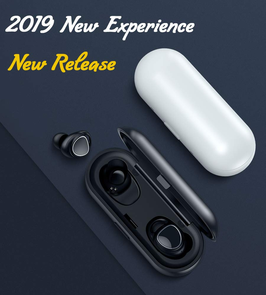 TWS Wireless-Earbuds Bluetooth 5.0 Headphones with Charging-Case, True Stereo Waterproof Noise-Cancelling, 6H Playback Time / 40H Cycle Playing Time, in-Ear Wireless Bluetooth Earbuds with Microphone