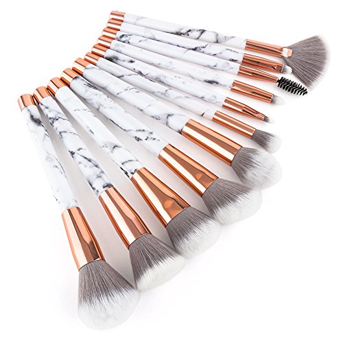 Summifit 11 Pcs Makeup Brush Set Professional Synthetic Face Contour Eyeliner Blending Blush Highlighter Cosmetics Make Up Brushes Kit for Powder Liquid Cream