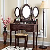 Bedroom Makeup Vanity with Lights Fineboard Vanity Set with Stool Makeup Table with Seven Organization Drawers 3 Oval Mirrors (Brown)