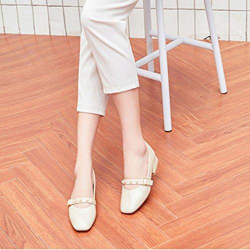 XIA&Sportschuhe Retro Square Head Single Schuhe rau mit flachen Mund Lady A