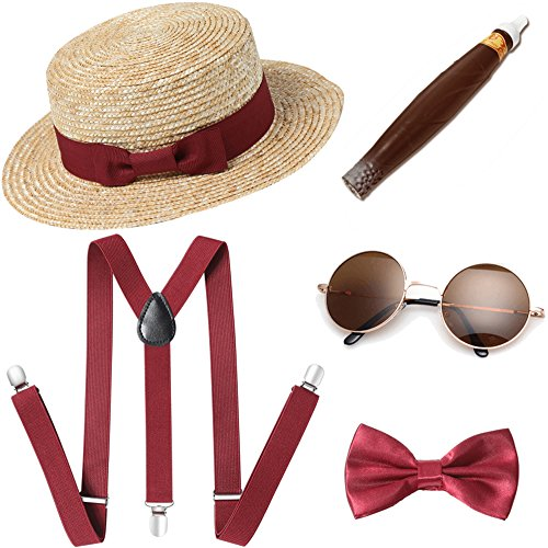 BABEYOND 1920s Mens Gatsby Gangster Costume Accessories Set Manhattan Fedora Hat Suspenders (Set-7)