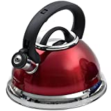 Creative Home Alexa 3.0 Whistling Tea Kettle, Cranberry