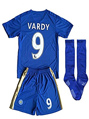 2015/16 Leicester City Home Kids Vardy # 9 Youths Children Football Soccer Jersey & Short & Socks