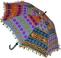 Sofía Art - Paraguas de algodón Hecho a Mano con diseño Indio, protección UV, Paraguas para el Sol, sombrilla de Boho Umbrellas (5 Unidades): Amazon.es: Jardín