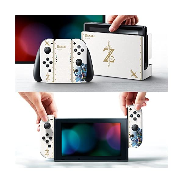 """Controller Gear Nintendo Switch Skin & Screen Protector Set Officially Licensed By Nintendo - The Legend of Zelda: Breath of the Wild: """"Revali White Pattern"""" - Nintendo Switch 2"""