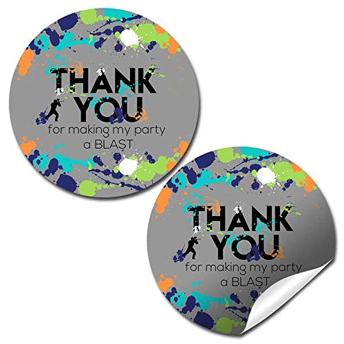 Splatter Paintball Themed Thank You Sticker Labels for Boys, 40 2