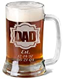 16 Oz Gift for Dad Fathers Day Engraved Glass Beer Mug Stein Personalized Est Kids Birth Dates Etched Daddy Father Grandpa