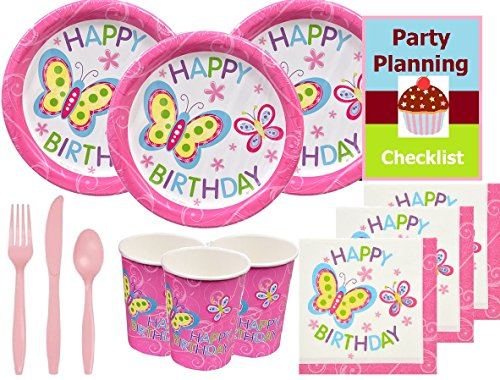 Butterfly Birthday Party Supply Pack for 16 Guests - Plates, Napkins, Cups, Cutlery & Party Planning Checklist