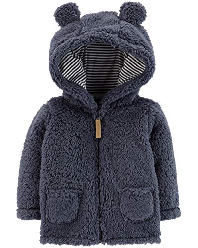 (Carter's Baby Boys' 3M-24M Hooded Sherpa Jacket,Blue,3 Months)