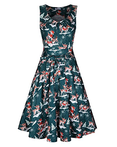 KILIG Women's Christmas Sleeveless Print Pleated Skater Party Cocktail Dresses with Pockets(Green Xmas,XL) -