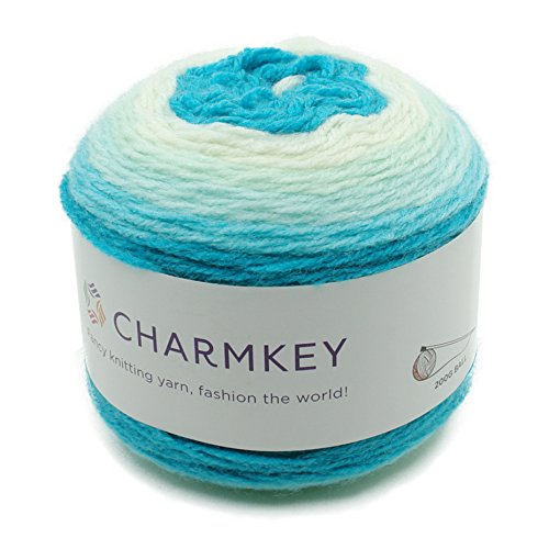 Charmkey Romantic Cake Yarn 4 Ply Super Soft 4 Medium Acrylic Wool Blended Colorful Self Striping Hand Dyed Gradient Mix-Colored Knitting Crocheting Thread, 1 Skein, 7.05 Ounce (Lake Blue)