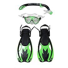 Snorkel Master Snorkeling KIDS Mask, Snorkel, & Fins Set, Green/Black