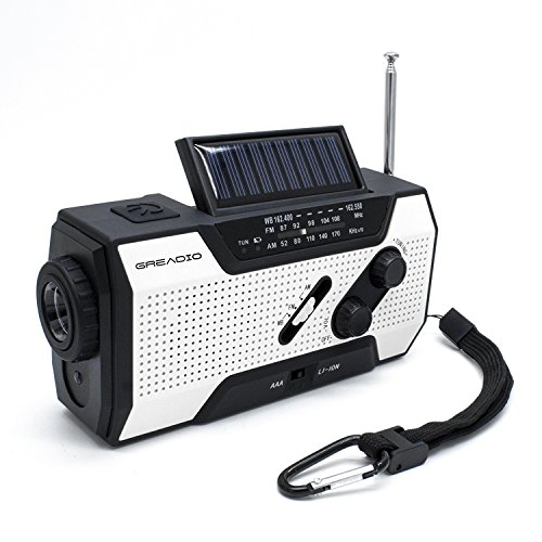 Emergency Weather Solar Crank Am Fm Noaa Radio With Portable 2000Mah Power Bank  Bright Flashlight And Reading Lamp For Household Emergency And Outdoor Survival