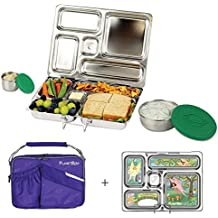 PlanetBox ROVER Eco-Friendly Stainless Steel Bento Lunch Box with 5 Compartments for Adults and Kids - Purple Carry Bag with Fairies Magnets