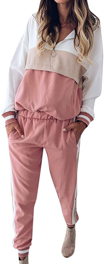 MOVERV Conjuntos de Deporte Chándal para Mujer,Chandal Conjunto para Mujer Moda Casual Conjuntos Deportivos Manga Larga Sudadera con Capucha Pantalones 2pcs Plus Size