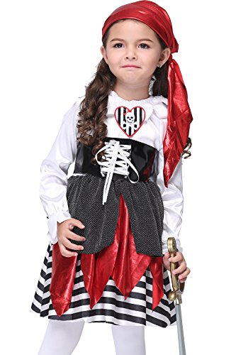 Kids Girls Halloween Pirate Captain Cosplay Skull Novelty Costume Dress , (Caribbean Dance Costumes For Kids)