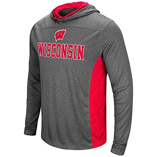 Badger Football T-shirt (Mens Wisconsin Badgers Wingman Sleet Hooded Tee Shirt - XL)