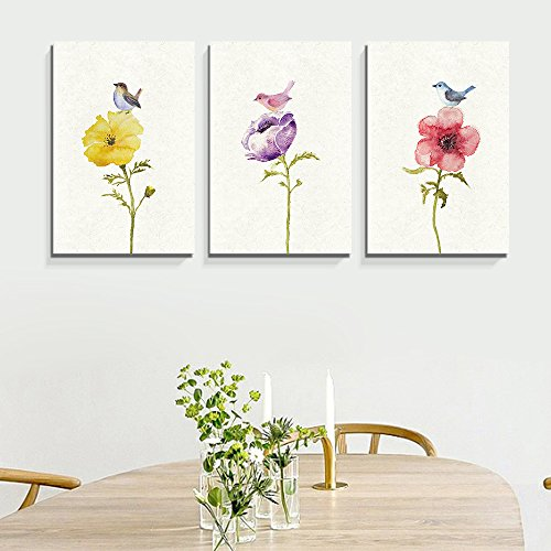 3 Panel Watercolor Painting Style Birds and Flowers x 3 Panels