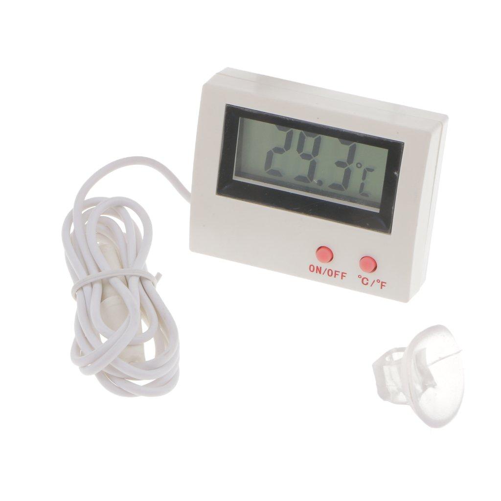 Dovewill Digital LCD Thermometer Temperature Monitor with External Probe For Fridge Freezer Refrigerator Aquarium -White