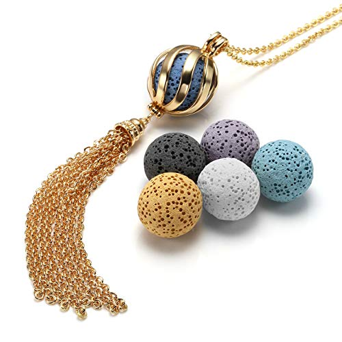 Price comparison product image JOVIVI Aromatherapy Essential Oil Diffuser Necklace Gold Twist Ball Tassel Locket Pendant + 6 Dyed Lava Stone Beads w / Box