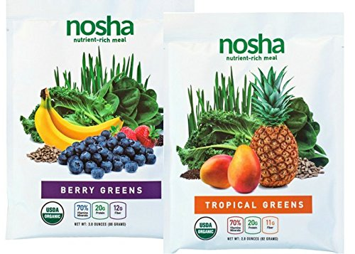 Nosha Whole Food Meal Replacement w/Nutrient-Rich Greens, Seeds, and Fruit (certified organic, vegan, gluten-free, no added sugar) VARIETY SAMPLER - 4 pack