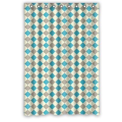 Tic-Tac Curtains Checker Board Pattern Design Resistant Waterproof Bathroom Fabric Shower Curtain 48