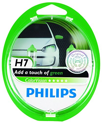 Philips ColorVision H7 Halogen Headlight (Green), 2 Pack