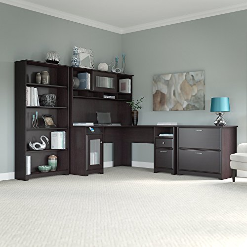 Cabot L Shaped Desk with Hutch, Lateral File Cabinet and 5 Shelf Bookcase by Bush Furniture