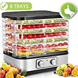 Hauture Food Dehydrator Machine, 8 Trays Food Dehydrator, Temperature Control for Beef Jerky Preserving Wild Food and Fruit Vegetable Dryer in Home Kitchen, BPA Free/400 Watt