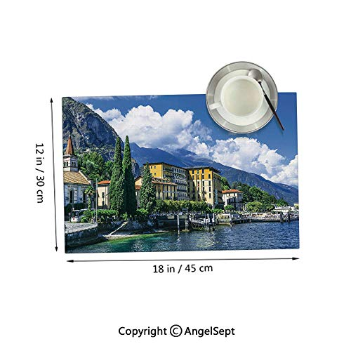 Homenon Heat Resistant Easy Clean Placemats,The Panoramic Landscape of Lake Como Mountains and Clouds Digital ImageBlue and Green 12x18inches,Place mats Washable Set of 4 (Best Restaurants Lake Como)