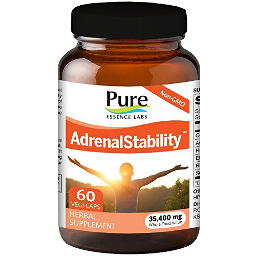Pure Essence Labs   Natural Adrenal Health Support Supplement For Fatigue Stress  Anxiety Relief  Improved Mood   Focus  Cortisol Management   60 Capsules