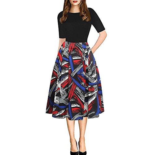 WINWINTOM Rockabilly Kleider Damen,Beiläufiges Strandkleid Sommerkleid  Ausgestelltes,Rundhalsausschnitt Kleid Slim Print Hepburn Kleider 80e5971a81